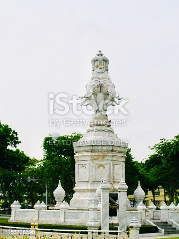 Bangkok, Thailand - May 15, 2019 : 4 Head Elephant Statue on Ratchadamnoen Road, The Memorial Monument for A Celebration of 50 Years of the Reign of King Rama 9 or King Bhumibol The Great at Bangkok, Thailand.