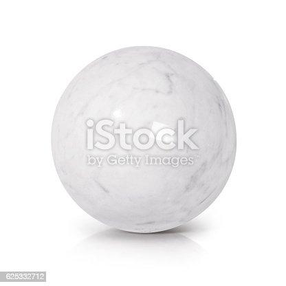 White Marble ball 3D illustration on white background