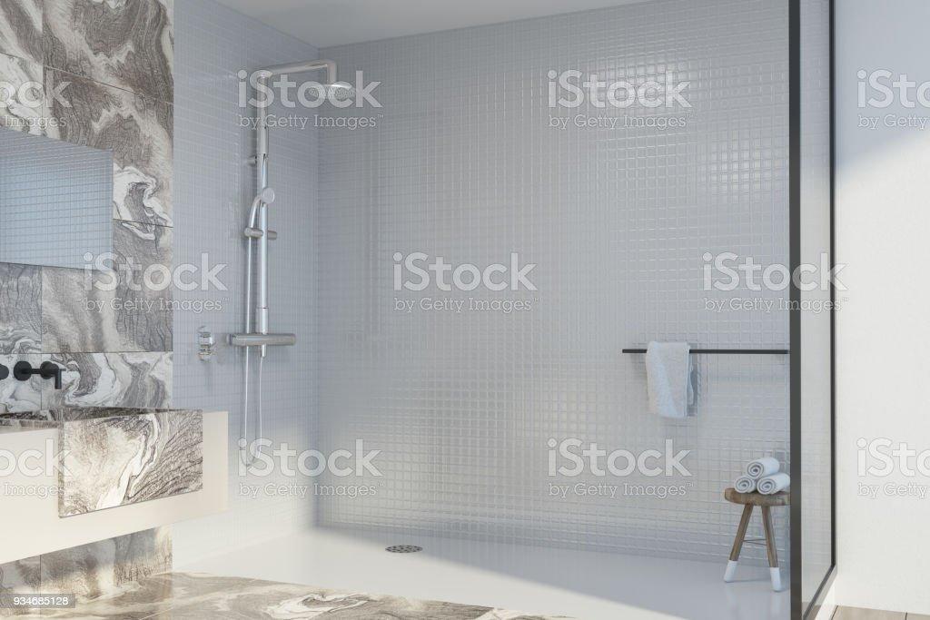 Ecke Weißer Marmorbadezimmer Dusche Und Waschbecken Stockfoto und ...