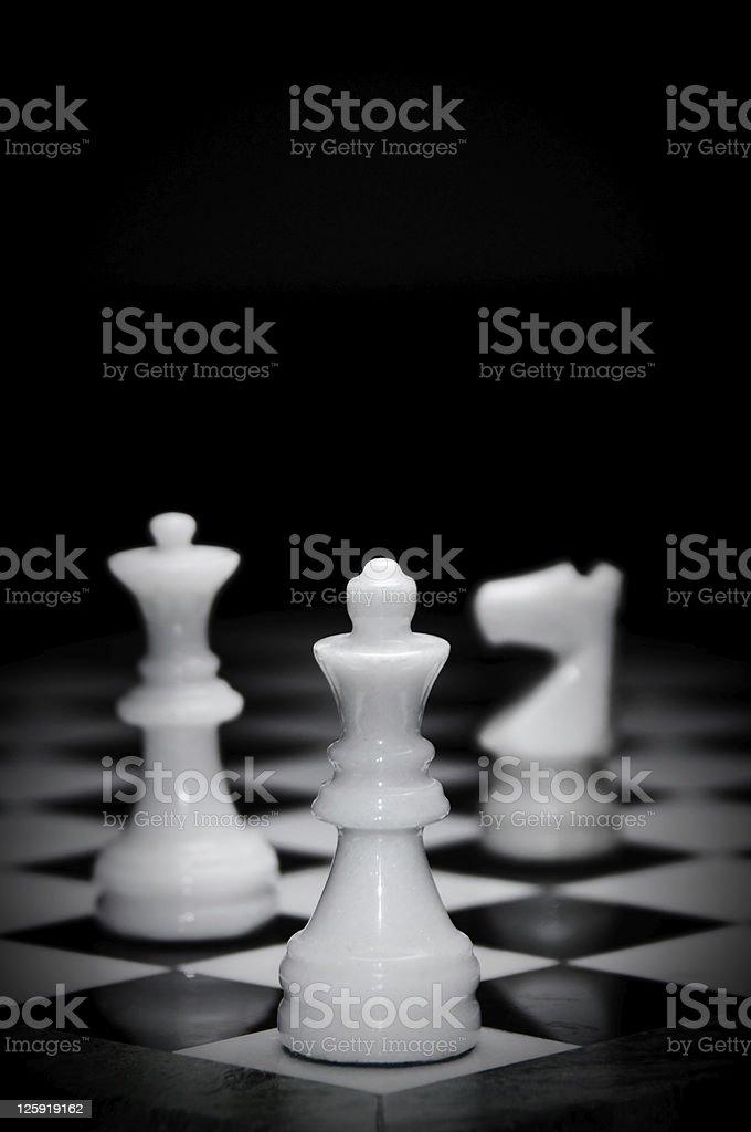 White marble chess pieces stock photo
