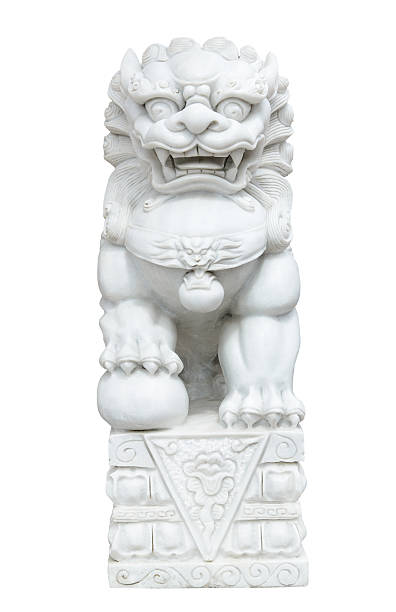 white marble Chinese Imperial Lion, Guardian Lion, Chinese style stok fotoğrafı