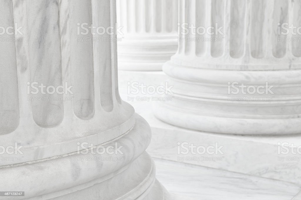 White Marble Column Colonnade Vertical Close-Up Supreme Court Washington stock photo