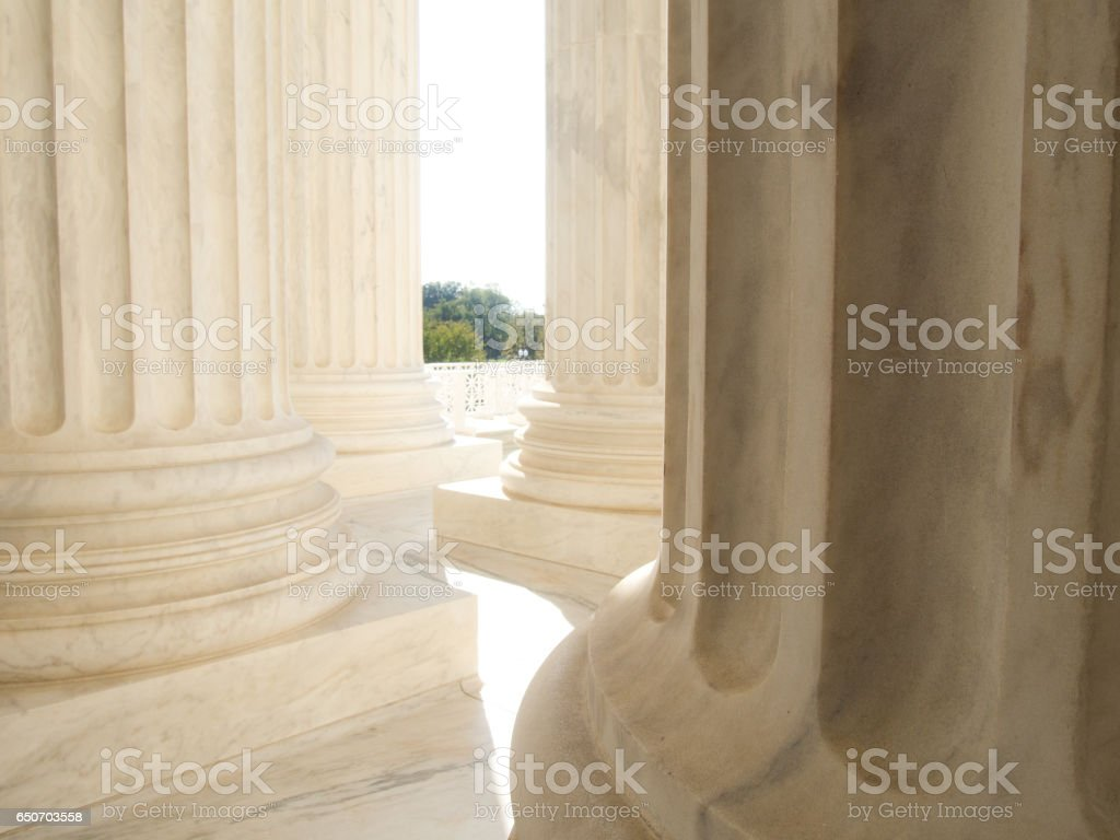 White Marble Columns at US Supreme Court Building in Washington DC stock photo