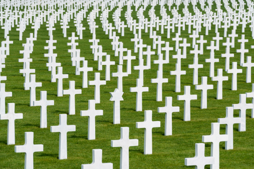 White marble crosses on an American military cimetery