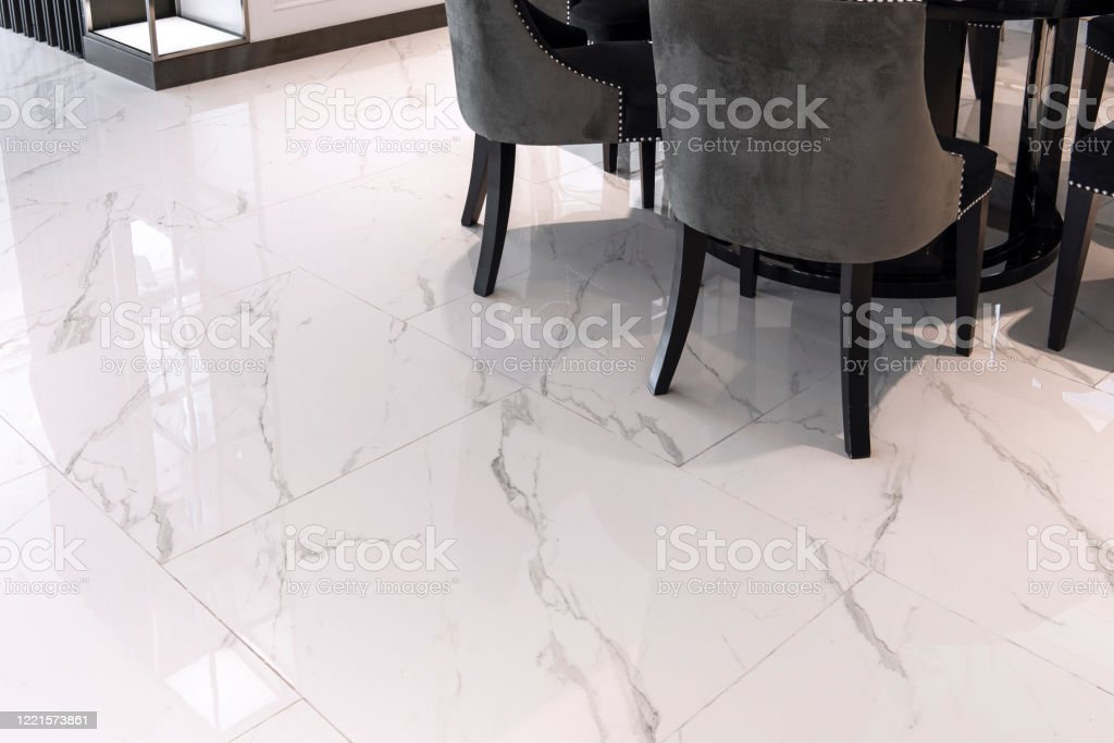 White Marble Floor Tiles In The Living Room Stock Photo Download Image Now Istock