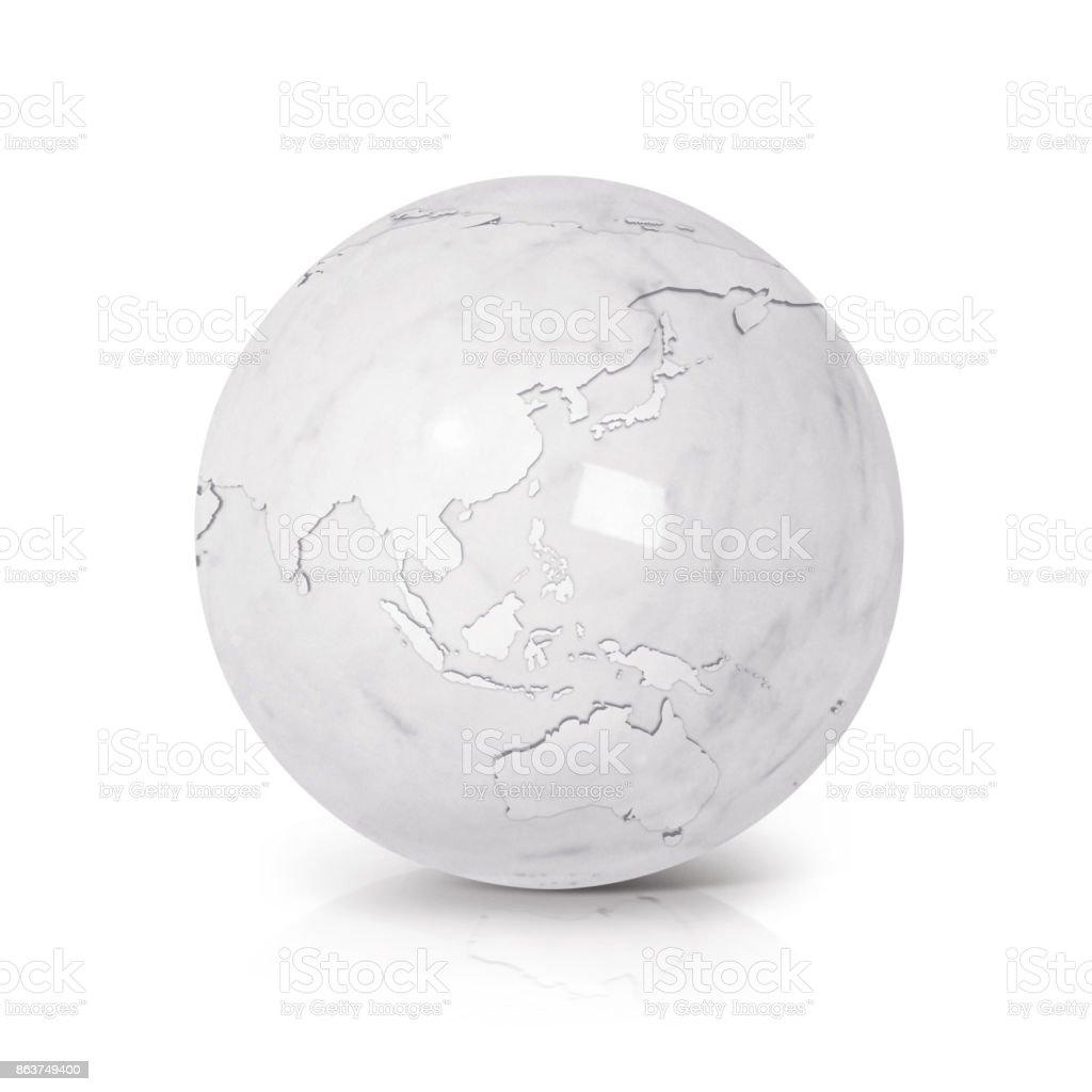 Mapa de Asia y Australia de globo de mármol blanco sobre fondo blanco - foto de stock