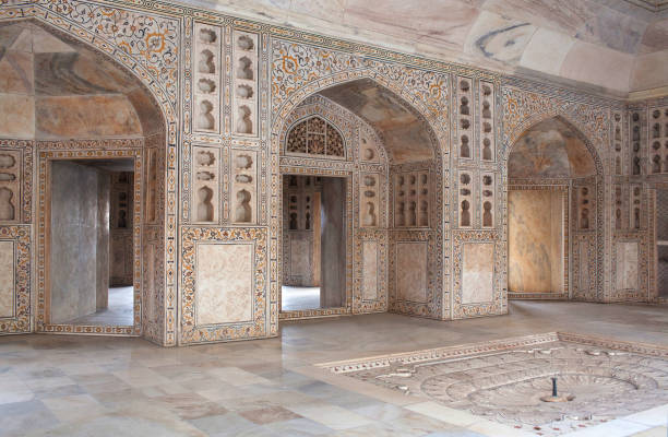White marble Khas Mahal palace in Agra Red Fort, India stock photo