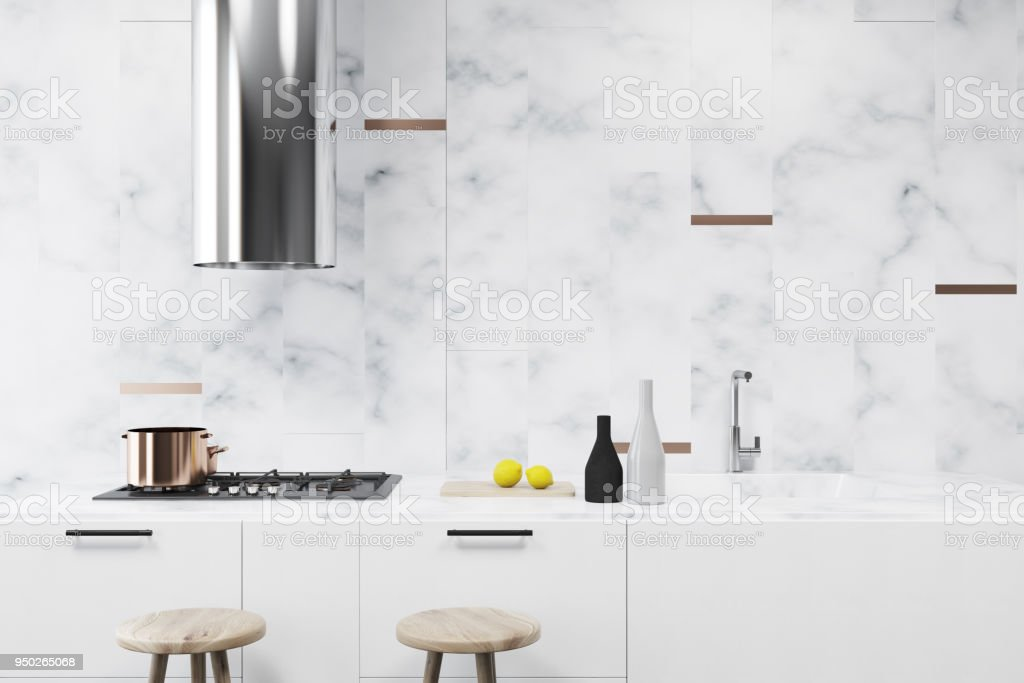 White marble kitchen interior, bar close up stock photo