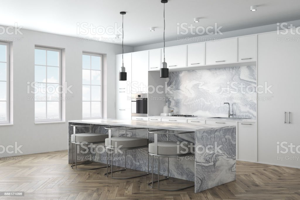 White Marble Kitchen Interior Side Stock Photo Download Image Now Istock