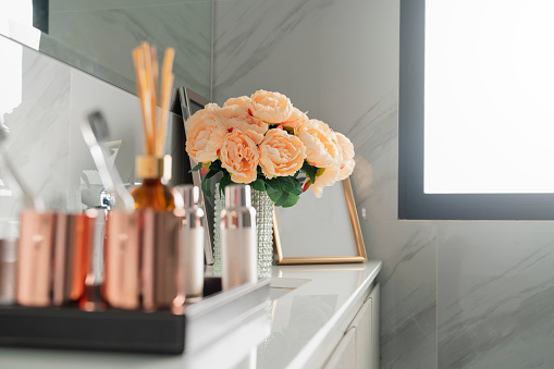 800987054 istock photo white marble lavatory with vintage faucet bathroom interior detail concept 1253262092