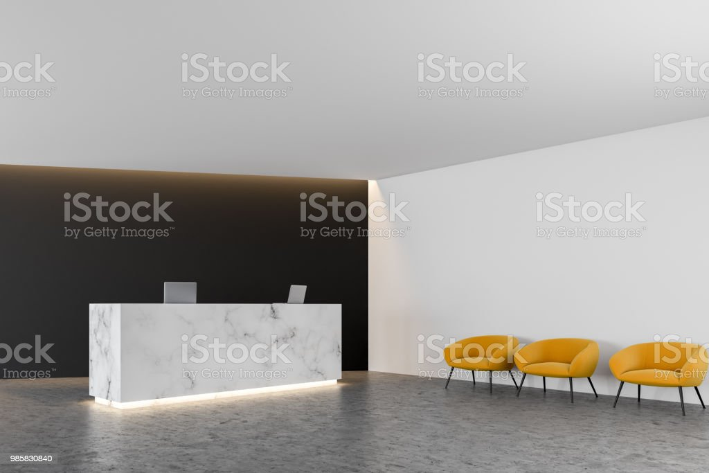 White Marble Office Reception Black Wall Chairs Stock Photo Download Image Now Istock