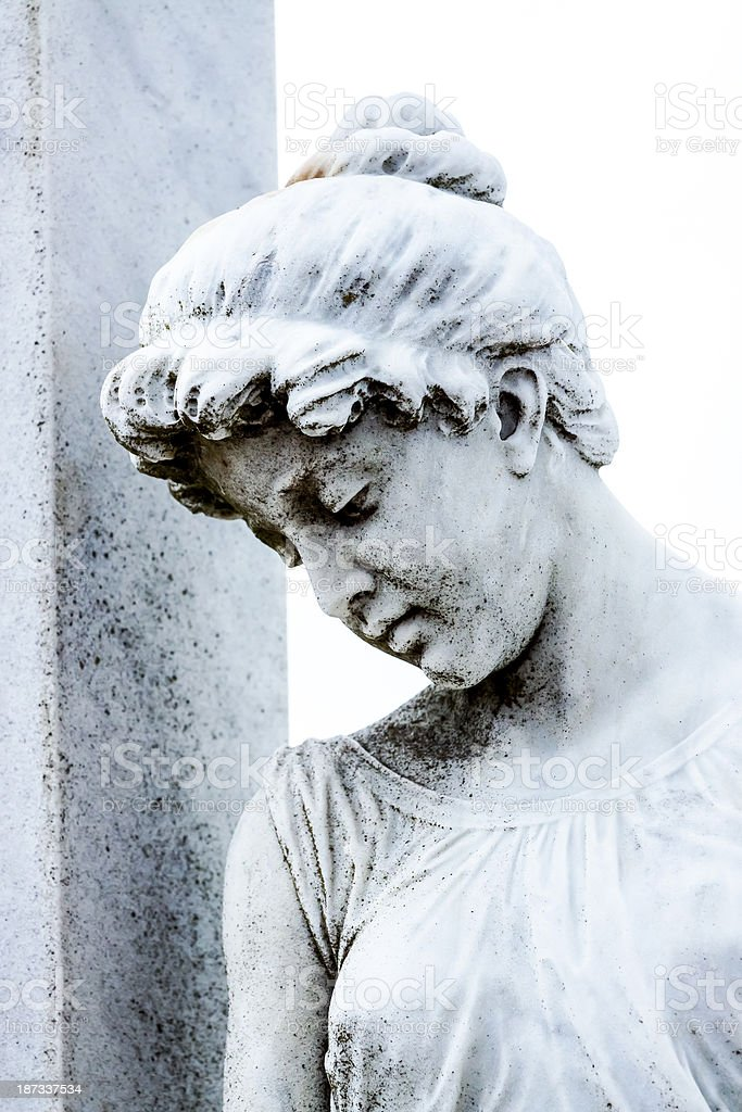 White marble statue of girl, white background, copy space royalty-free stock photo