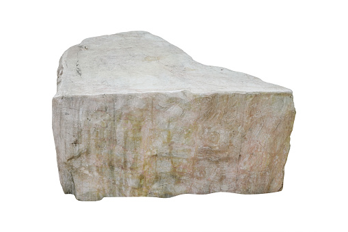 White Marble Stone Isolated On White Background With Clipping Path Stock Photo - Download Image Now