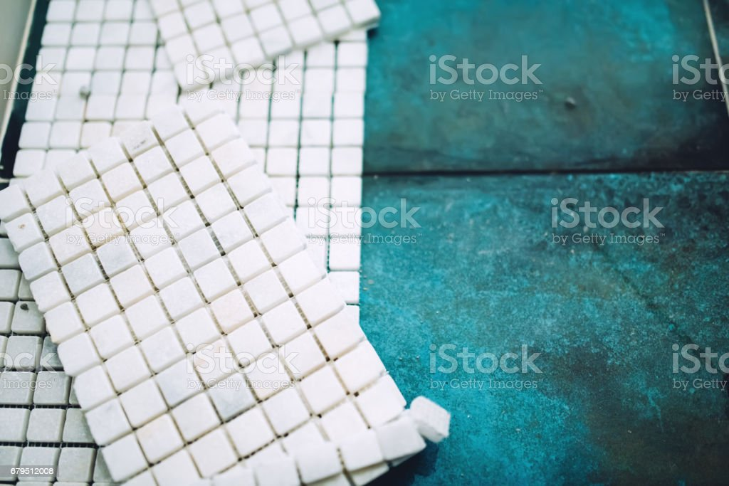 White marble stone, mosaic tiles ready for installation royalty-free stock photo