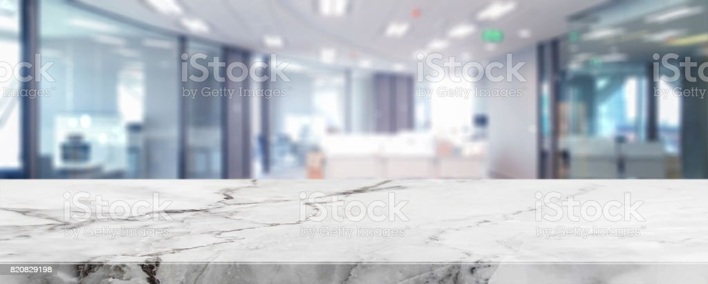 White Marble Stone Tabletop And Blurred Bokeh Office Interior Space  Background   Can Used For Display