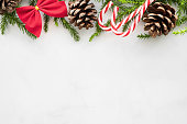 istock White marble table with Christmas decorations. Merry Christmas and happy new year concept. Top view with copy space, flat lay. 1185167692