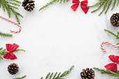 istock White marble table with Christmas decorations. Merry Christmas and happy new year concept. Top view with copy space, flat lay. 1185167710