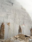 White marble wall at a quarry in Carrara, Italy