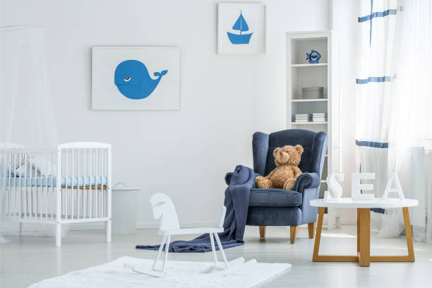 weiße marinistic kid schlafzimmer - pferde schlafzimmer stock-fotos und bilder