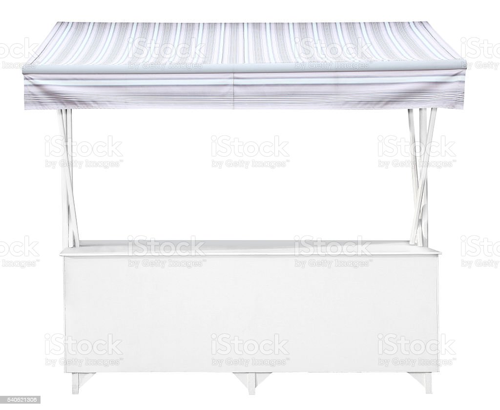 White market stall with pale blue grey striped awning stock photo