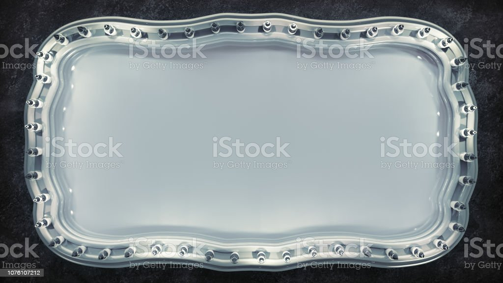 White Marquee Board Sign 3d Rendering Stock Photo - Download