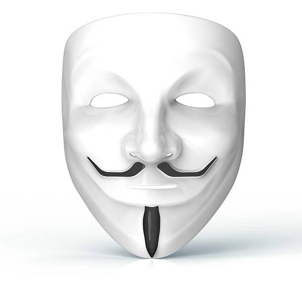 Weiße Maske aus dem Computer Hacker isoliert auf Weiß – Foto