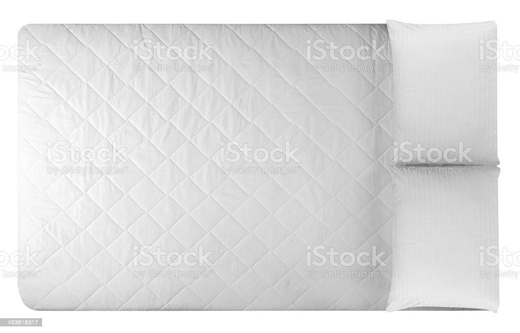 White mattress and two pillows stock photo