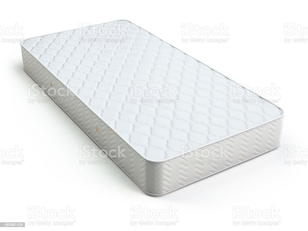 White mattress isolated on white. stock photo