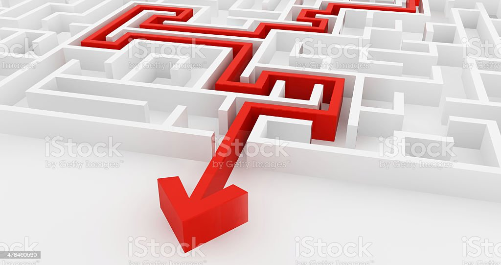 White maze and solution line, complex way to find exit. stock photo