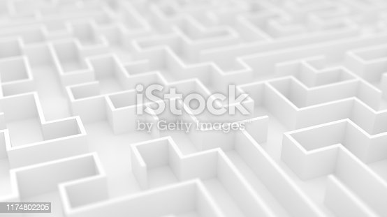 White maze background with Depth of Field. Endless labyrinth 3d illustration. White wallpaper.