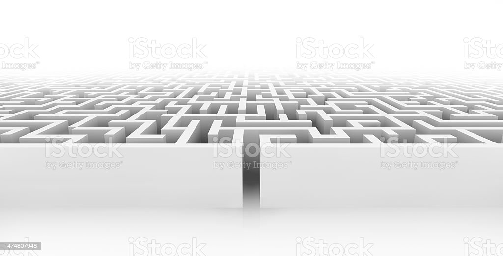 White maze, complex way to find exit. stock photo