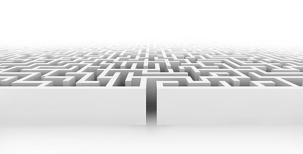 white maze, complex way to find exit. - maze stock photos and pictures