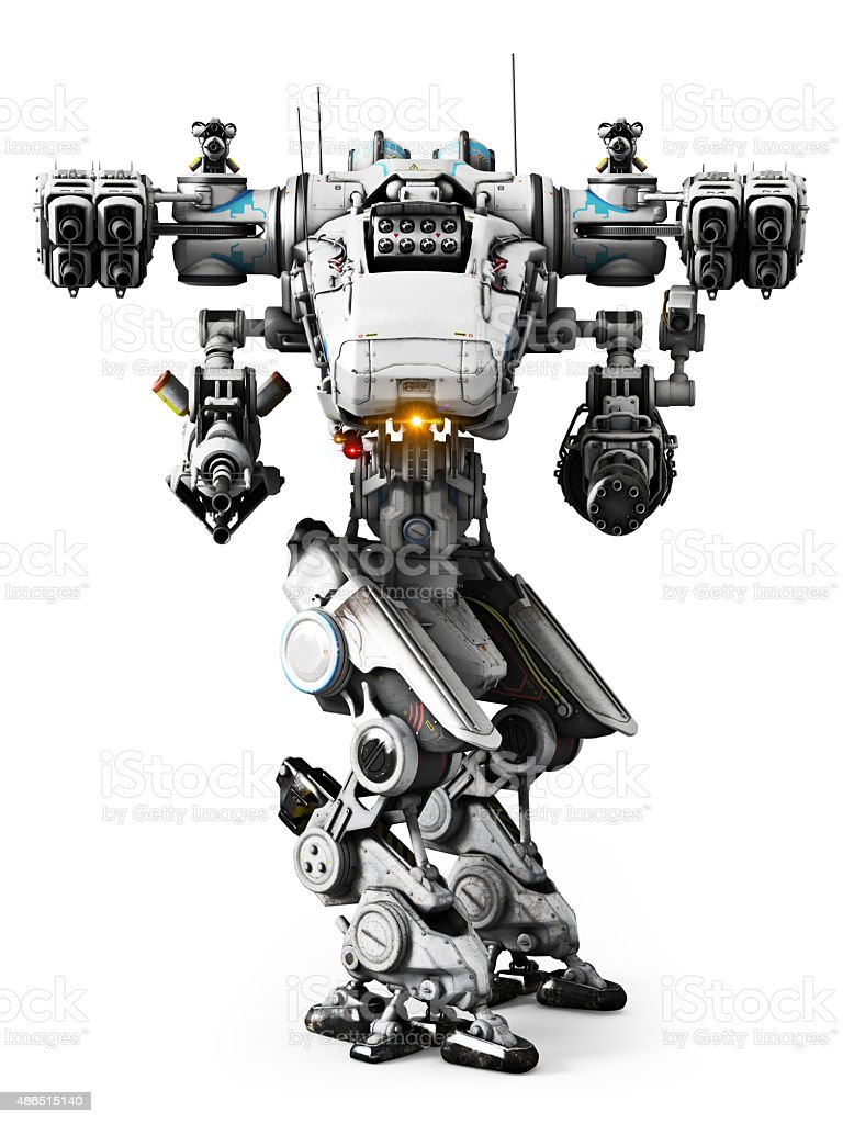 White Mech weapon with full array of guns stock photo