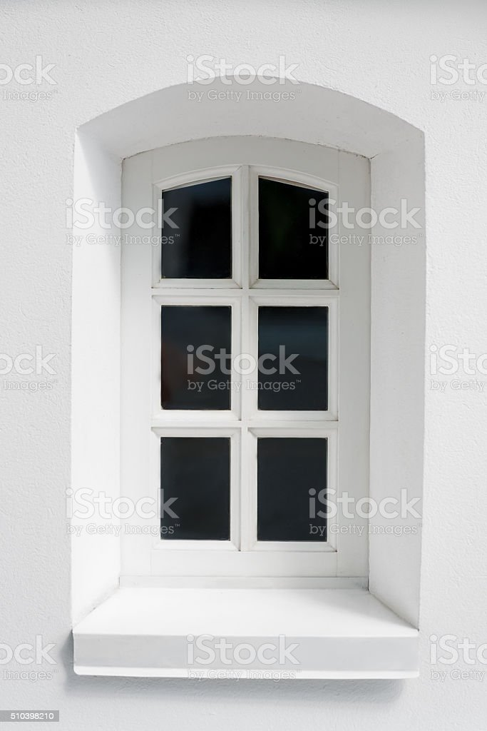 white medieval window of vintage style close-up stock photo