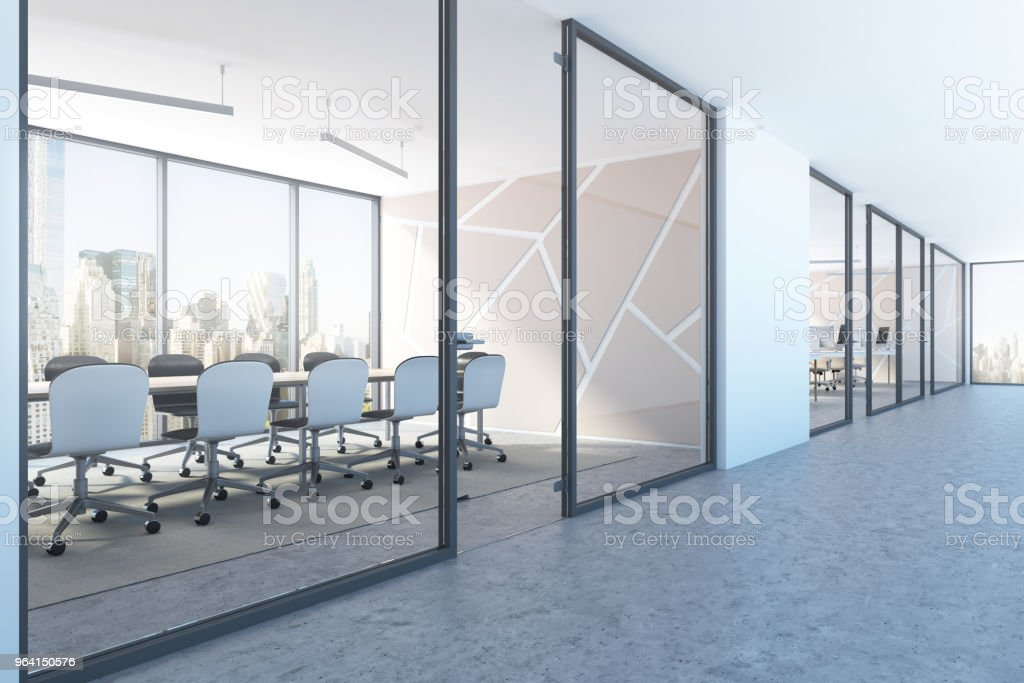 White meeting room lobby pattern side view stock photo