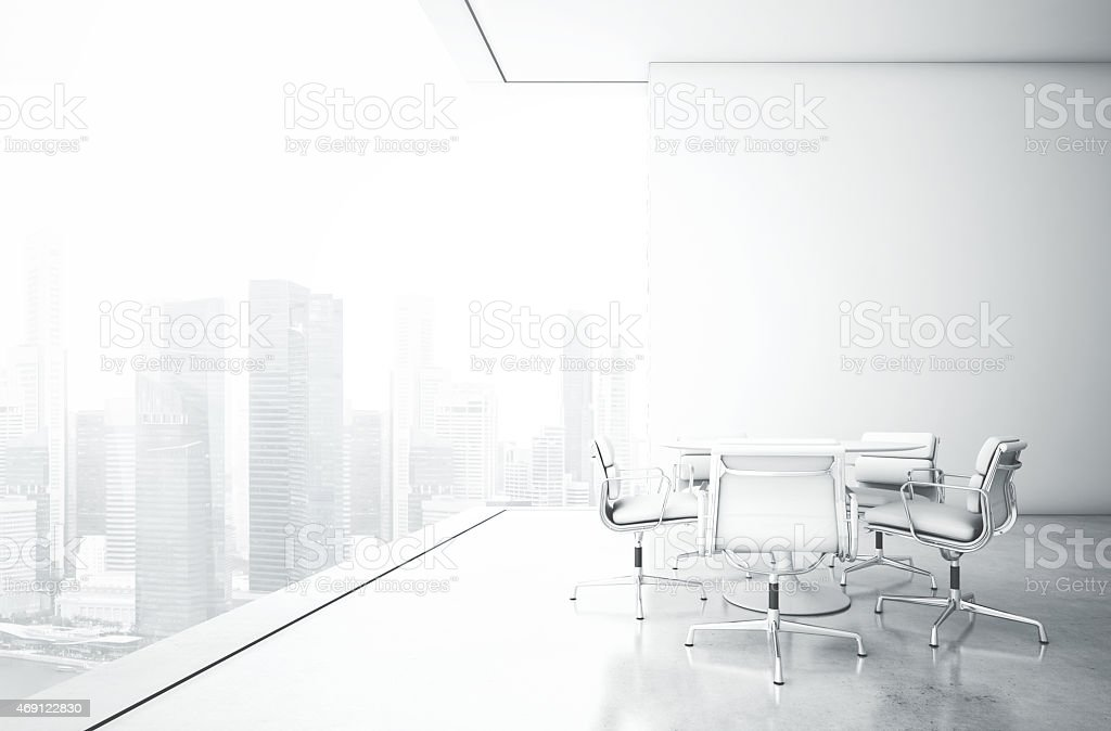 White meeting room with panoramic view stock photo