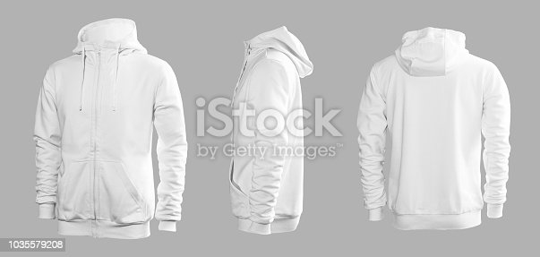 White men's sweatshirt with long sleeves and hood in rear and side views