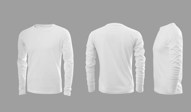 white men's sweatshirt with long sleeves in rear and side views - shirt stock pictures, royalty-free photos & images