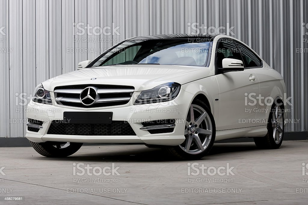 White Mercedes-Benz C180 Front View stock photo