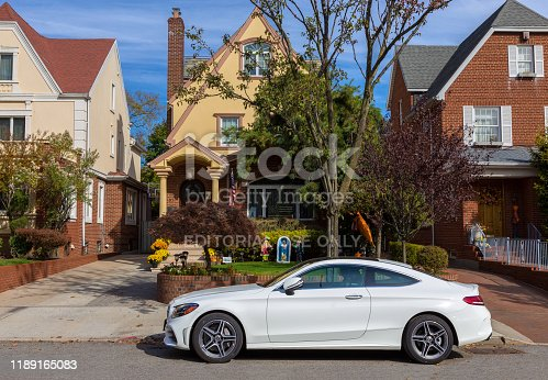 Mercedes-Benz Coupe parked on the street in Bay Ridge, Brooklyn, New York, USA. Trees, Road and Sidewalk are in the image. Canon EOS 6D (full frame sensor) DSLR and Canon EF 24-105mm f/4L IS lens.