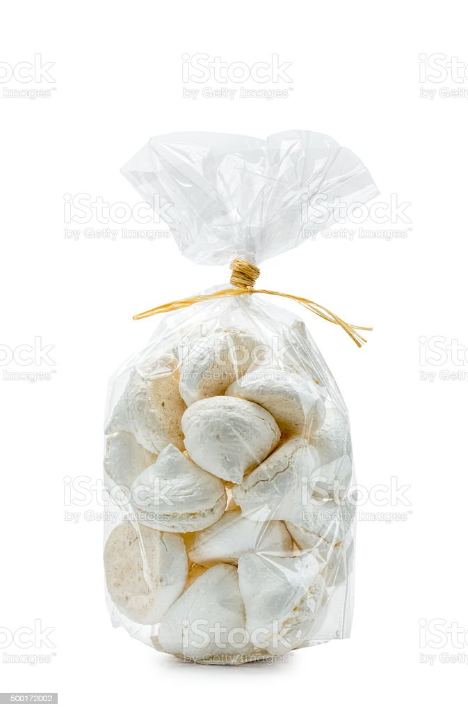 Bianco Meringues in una borsa - foto stock