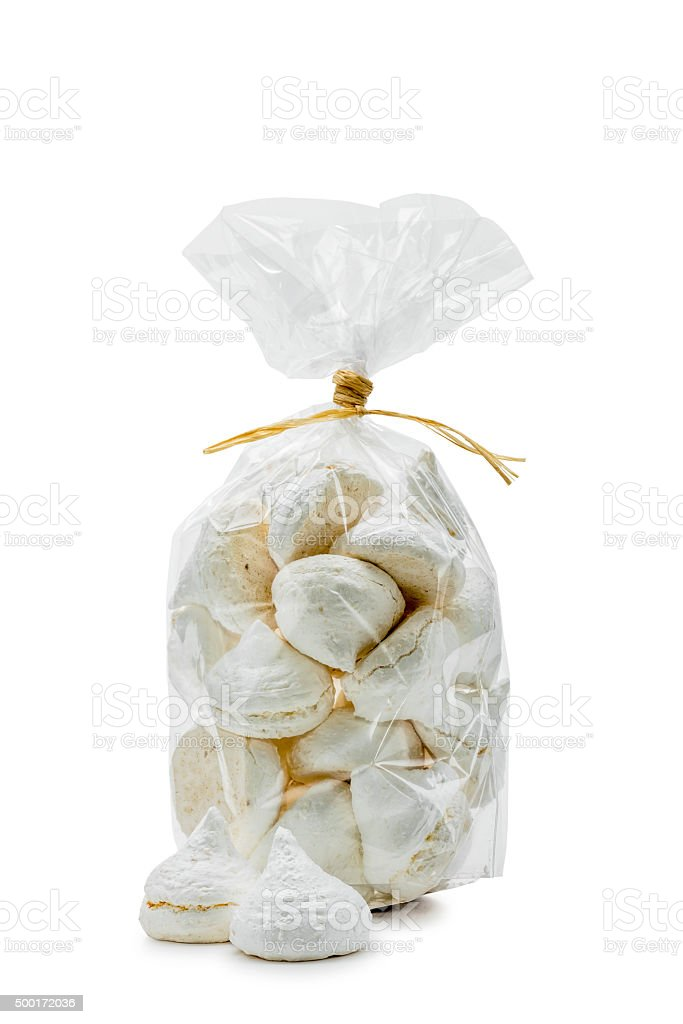 White Meringues in a Bag stock photo