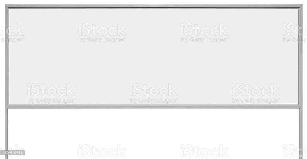 White metal ad sign billboard signage, isolated blank empty background stock photo