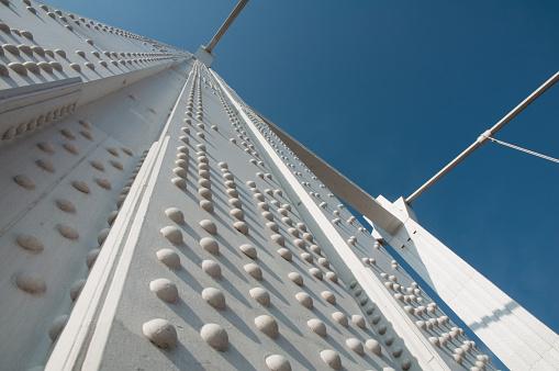 white metal bridge close up