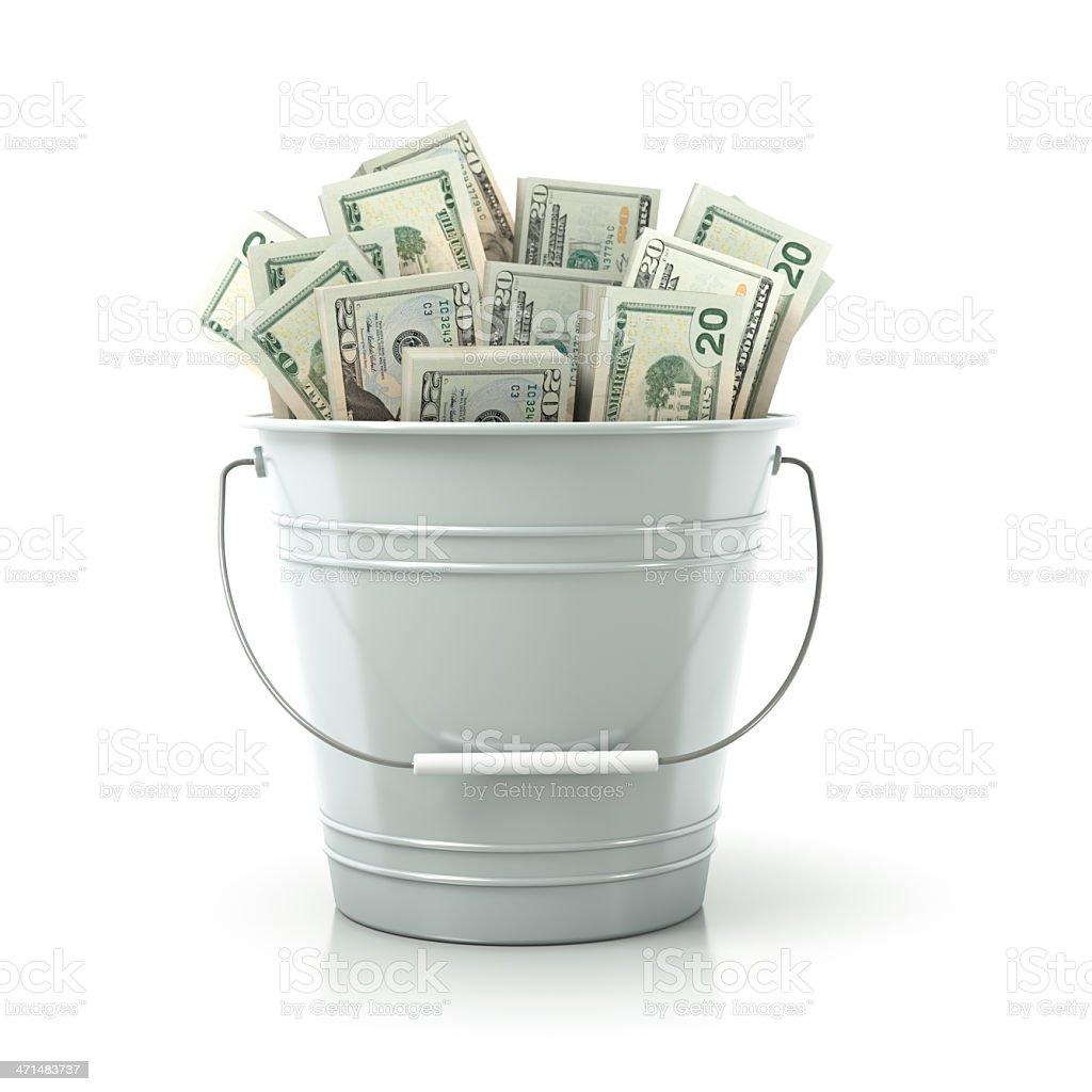 White metal bucket full of money stock photo