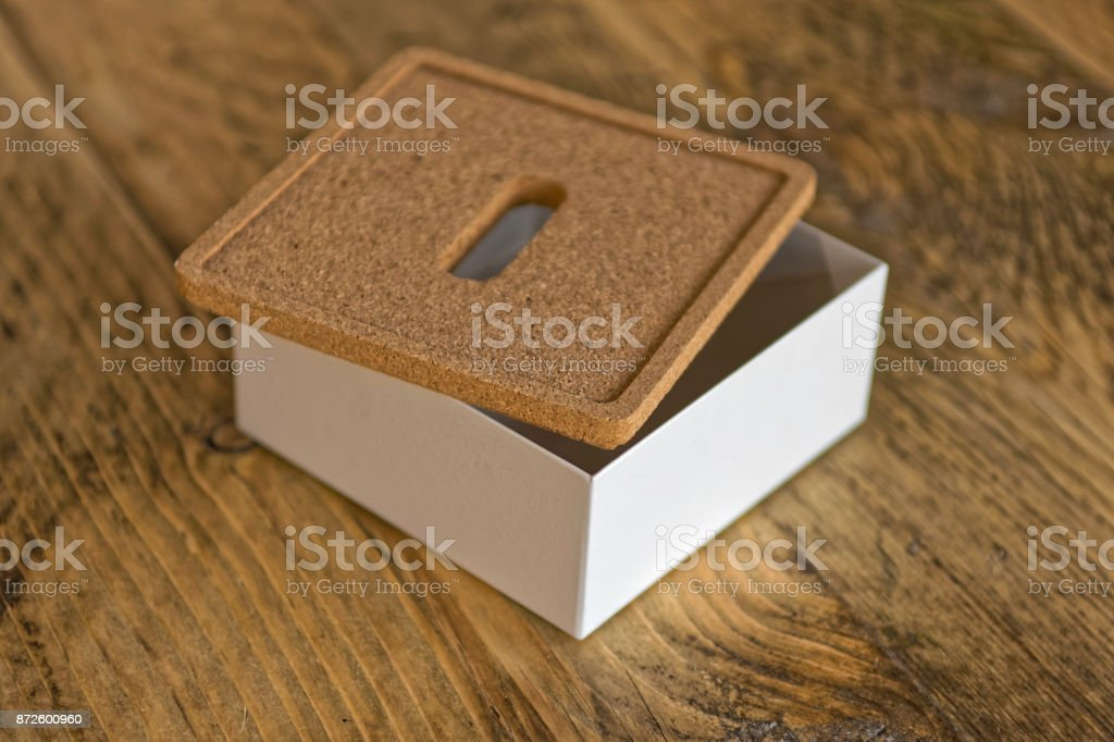White metal collection box with cork lid stock photo