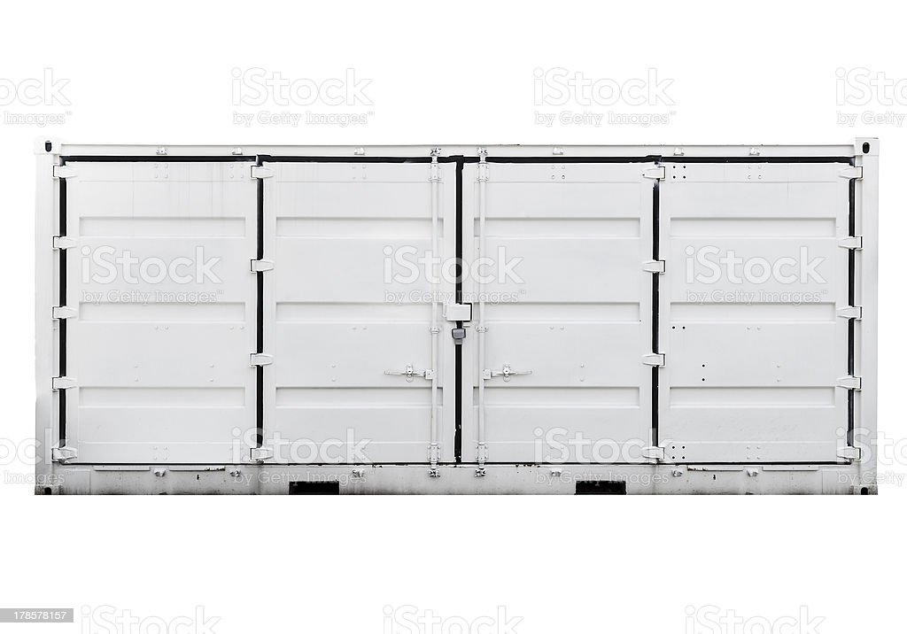 White metal container with doors isolated on white. Front view royalty-free stock photo