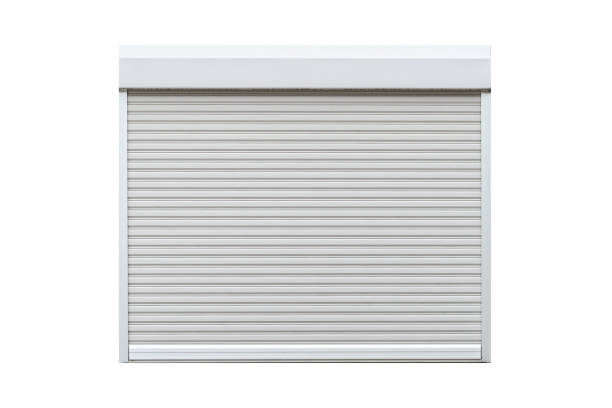 White metal roll shutter window isolated on white background stock photo