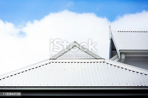 White metal rooftop, sky background with copy space, full frame horizontal composition