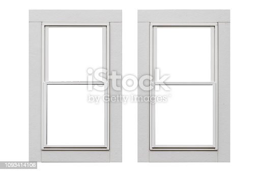White metal window frame isolated on white background